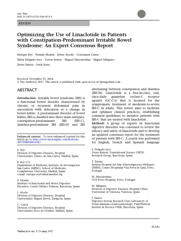 Optimizing the Use of Linaclotide in Patients with Constipation-Predominant Irritable Bowel Syndrome: An Expert Consensus Report