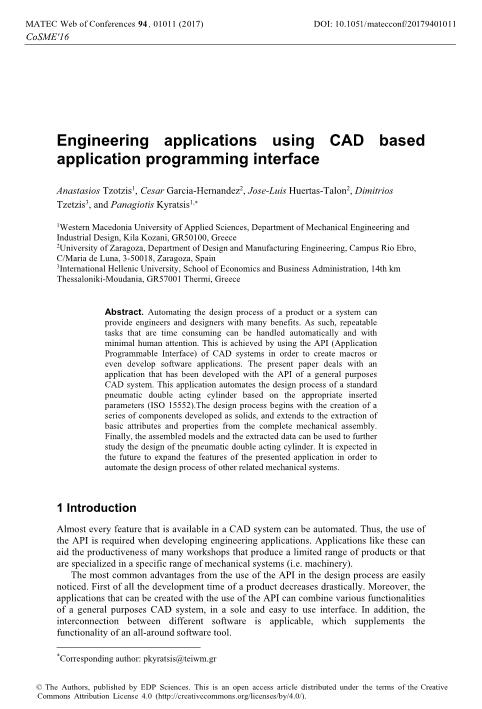 Engineering applications using CAD based application programming interface
