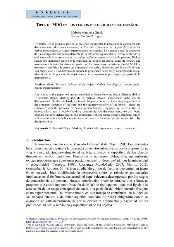 Tipos de MDO en los verbos psicológicos del español