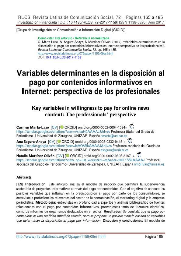 Variables determinantes en la disposición al pago por contenidos informativos en Internet: perspectiva de los profesionales