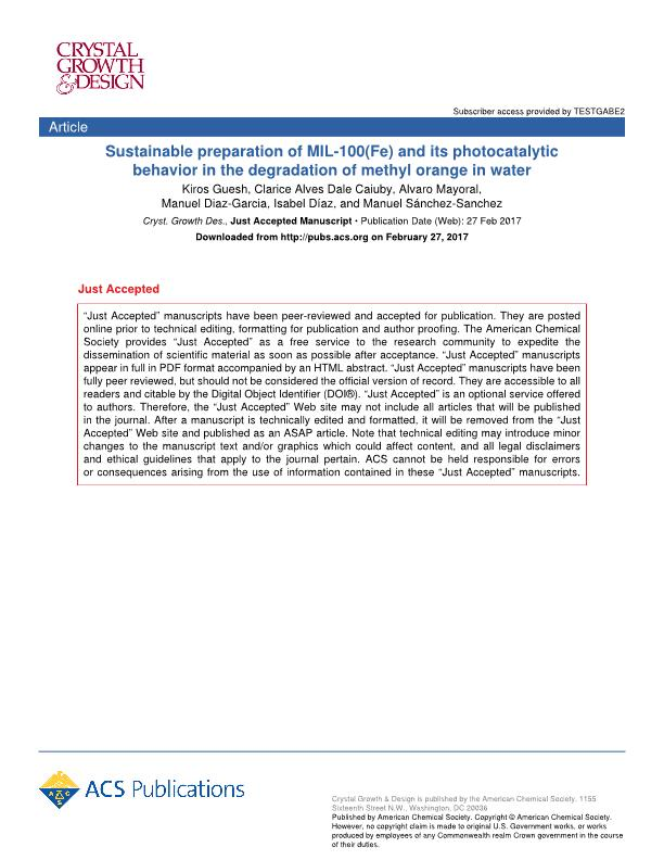 Sustainable preparation of MIL-100(Fe) and its photocatalytic