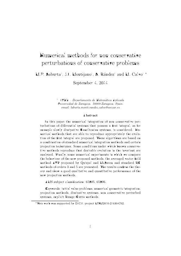 Numerical methods for non conservative perturbations of conservative problems