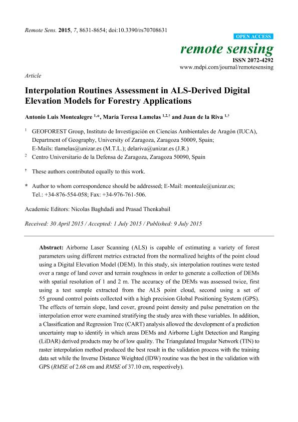 Interpolation routines assessment in ALS-derived Digital Elevation Models for forestry applications