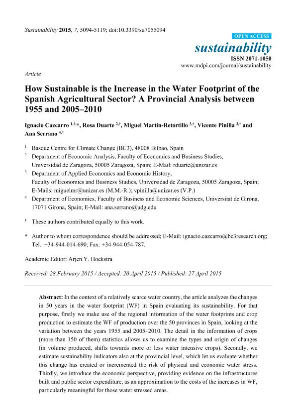 How sustainable is the increase in the water footprint of the Spanish agricultural sector? A provincial analysis between 1955 and 2005-2010