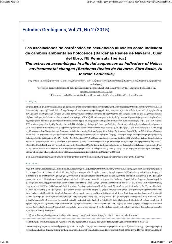 Las asociaciones de ostrácodos en secuencias aluviales como indicadores de cambios ambientales holocenos (Bardenas Reales de Navarra, Cuenca del Ebro, NE Península Ibérica)