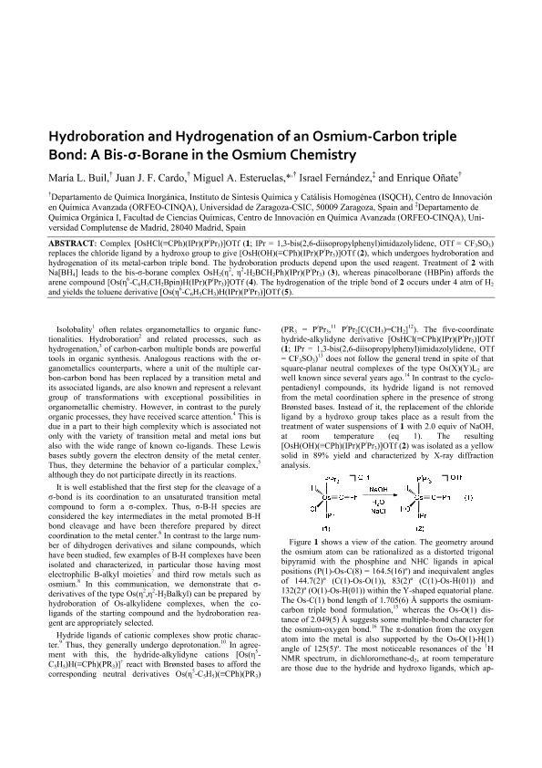 Hydroboration and hydrogenation of an osmium-carbon triple bond: Osmium chemistry of a bis-s-borane