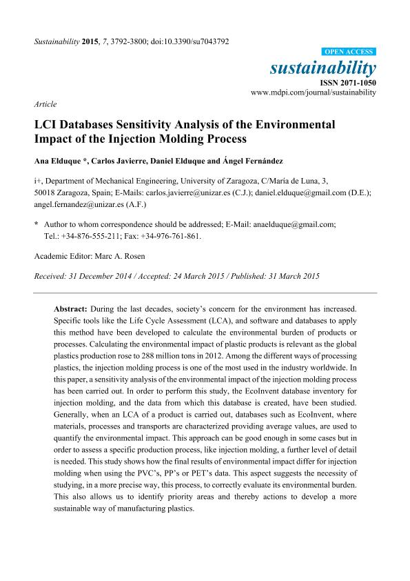 LCI databases sensitivity analysis of the environmental impact of the injection molding process