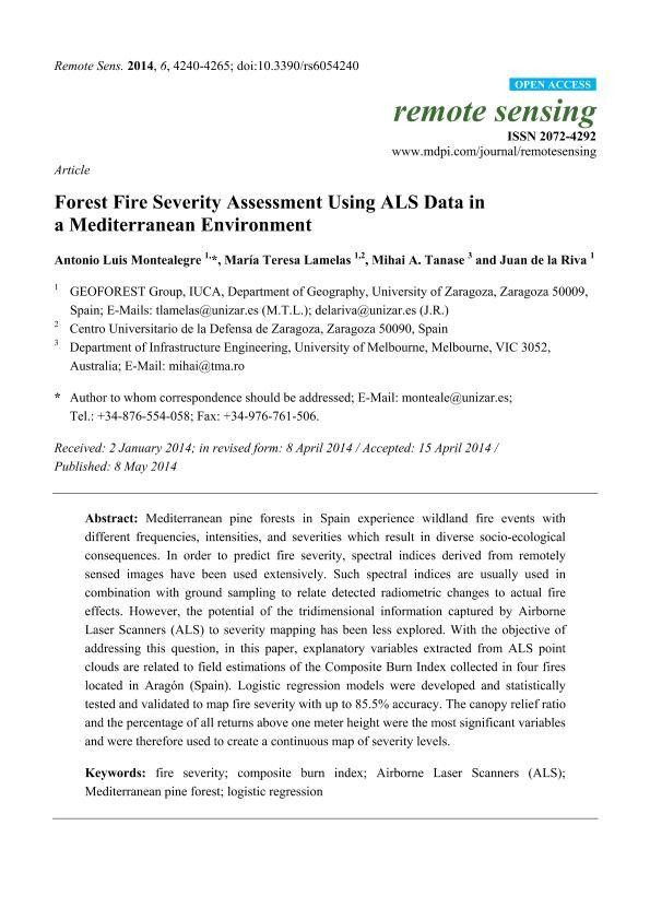 Forest fire severity assessment using LiDAR data in a Mediterranean environment