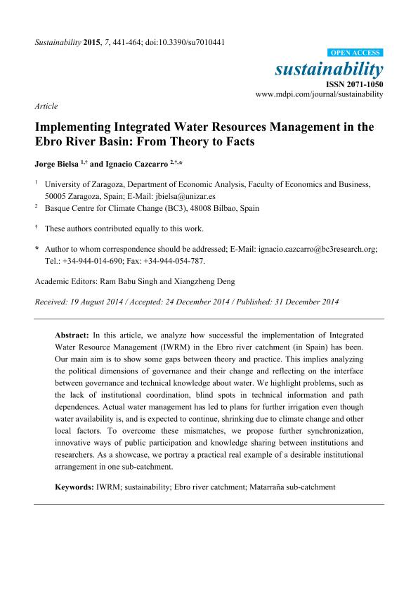 Implementing integrated water resources management in the Ebro River Basin: From theory to facts