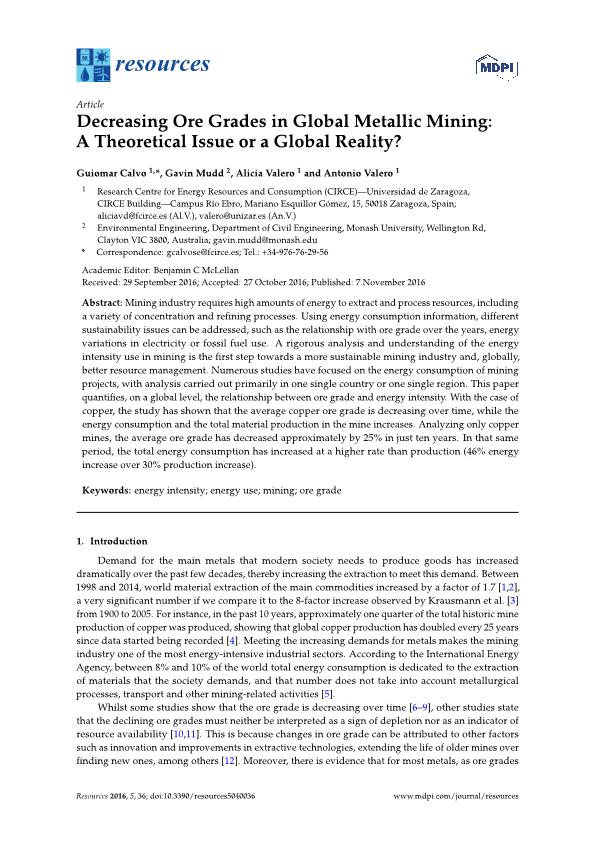Decreasing Ore Grades in Global Metallic Mining: A Theoretical Issue or a Global Reality?