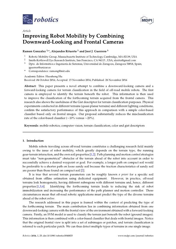 Improving Robot Mobility by Combining Downward-Looking and Frontal Cameras