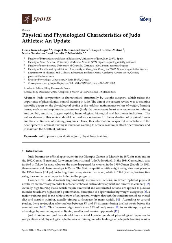 Physical and Physiological Characteristics of Judo Athletes: An Update