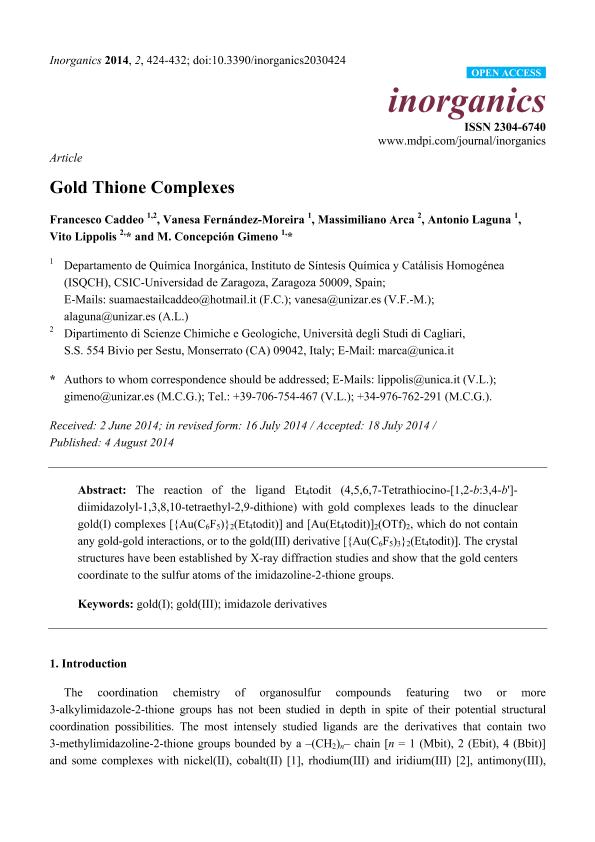 Gold Thione Complexes