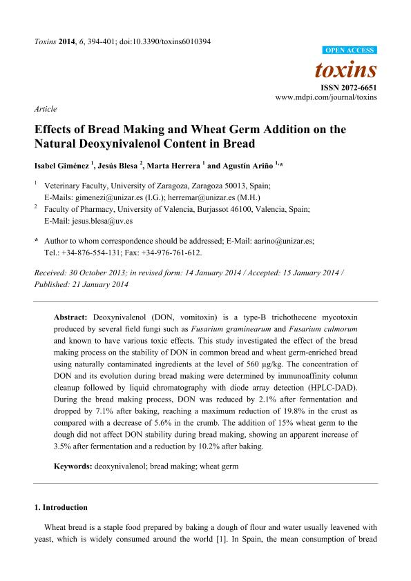 Effects of Bread Making and Wheat Germ Addition on the Natural Deoxynivalenol Content in Bread