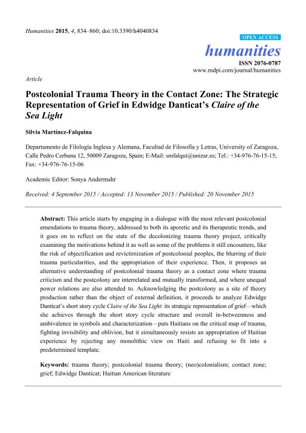 Postcolonial Trauma Theory in the Contact Zone: The Strategic Representation of Grief in Edwidge Danticat's Claire of the Sea Light