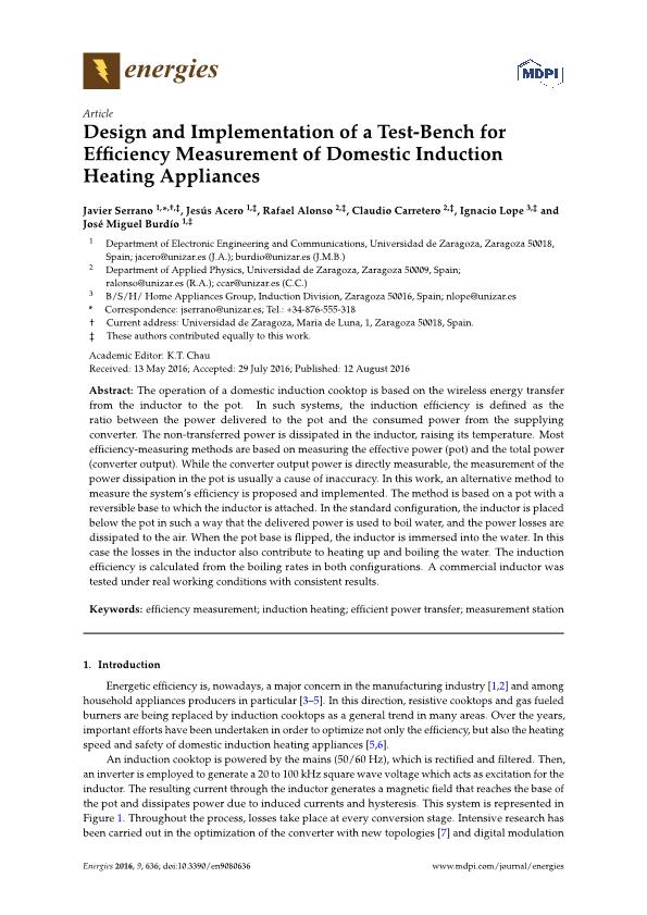 Design and Implementation of a Test-Bench for Efficiency Measurement of Domestic Induction Heating Appliances