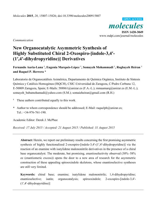 New Organocatalytic Asymmetric Synthesis of Highly Substituted Chiral 2-Oxospiro-[indole-3,4'- (1',4'-dihydropyridine)] Derivatives