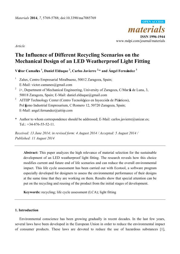 The Influence of Different Recycling Scenarios on the Mechanical Design of an LED Weatherproof Light Fitting