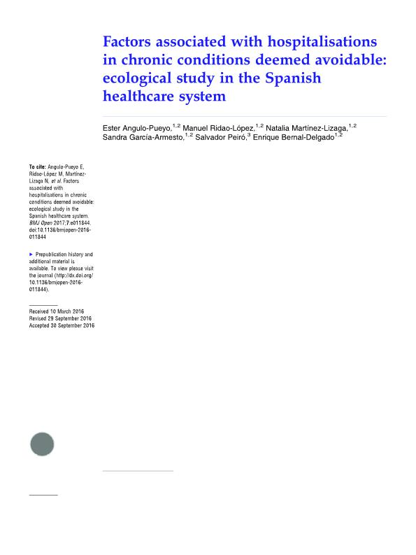 Factors associated with hospitalisations in chronic conditions deemed avoidable: Ecological study in the Spanish healthcare system