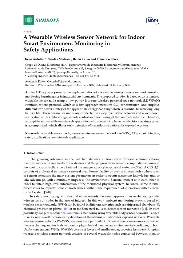 A wearable wireless sensor network for indoor smart environment monitoring in safety applications