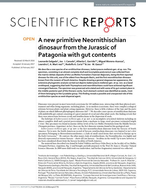 A new primitive Neornithischian dinosaur from the Jurassic of Patagonia with gut contents