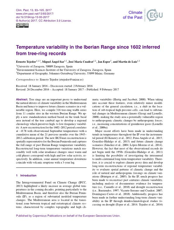 Temperature variability in the Iberian Range since 1602 inferred from tree-ring records