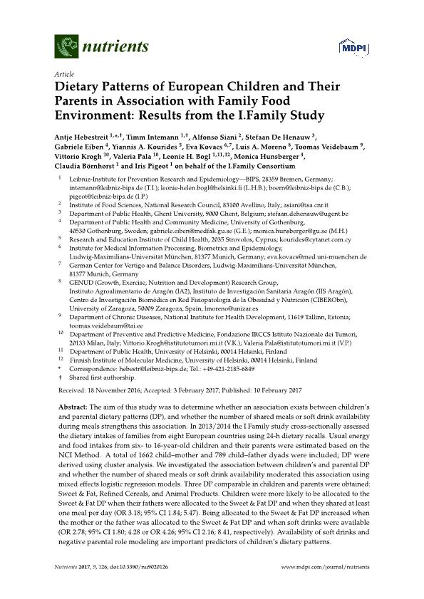 Dietary patterns of European children and their parents in association with family food environment: Results from the i.family study