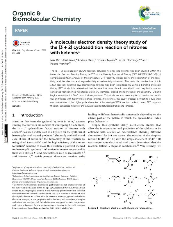 A molecular electron density theory study of the 3 + 2] cycloaddition reaction of nitrones with ketenes