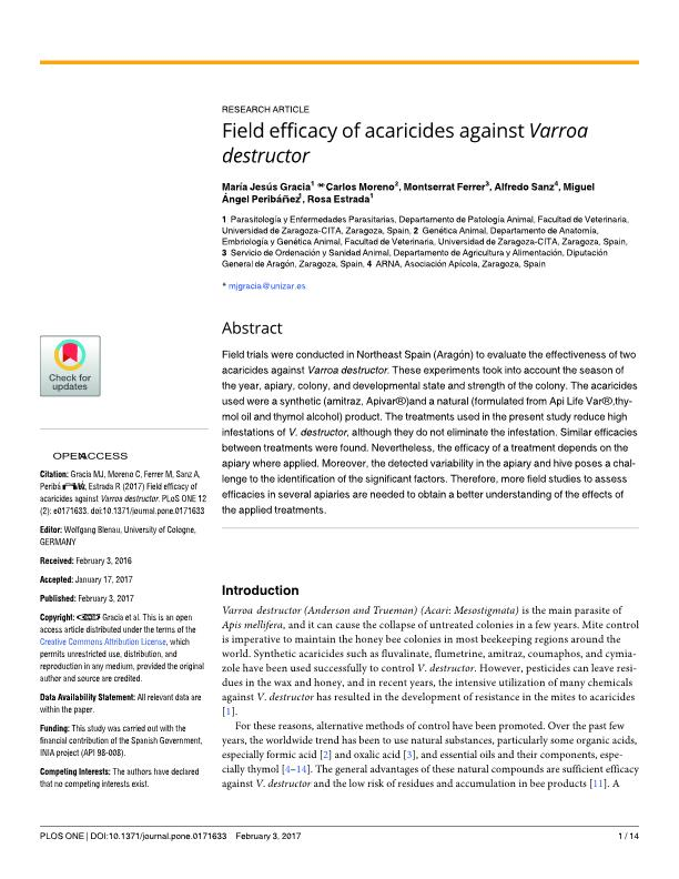 Field efficacy of acaricides against Varroa destructor