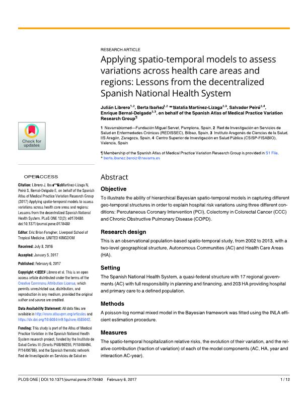 Applying spatio-temporal models to assess variations across health care areas and regions: Lessons from the decentralized Spanish National Health System