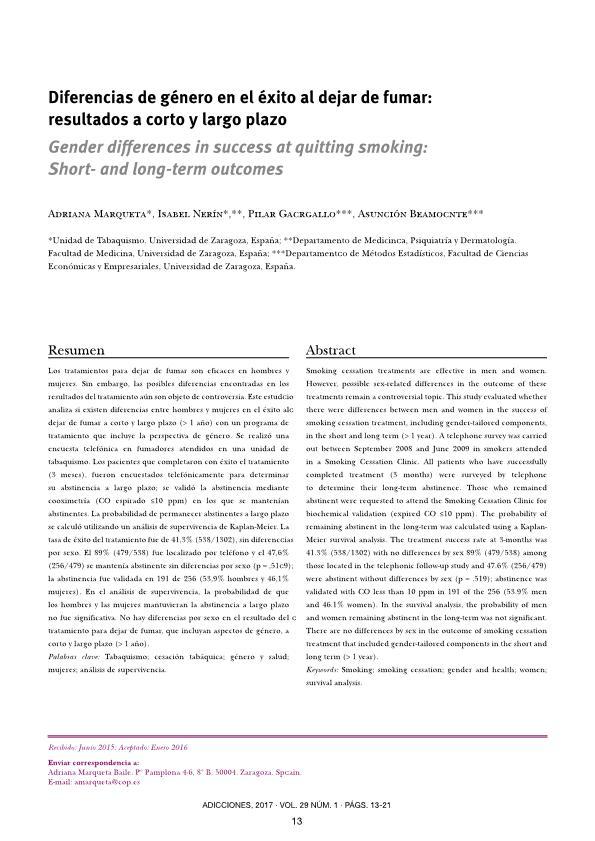 Diferencias de género en el éxito al dejar de fumar: resultados a corto y largo plazo [Gender differences in success at quitting smoking: Short- and long-term outcomes]