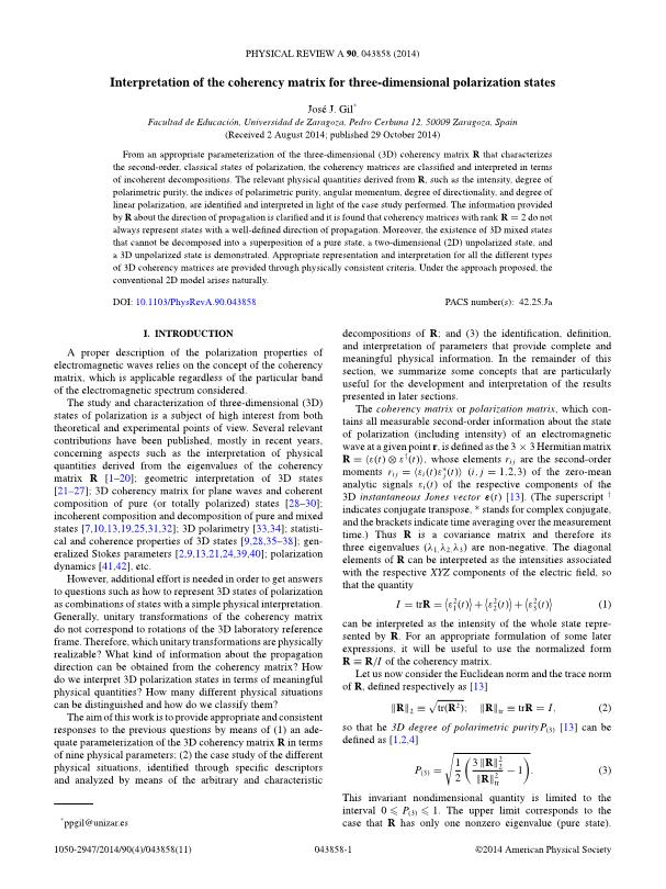 Interpretation of the coherency matrix for three-dimensional polarization states
