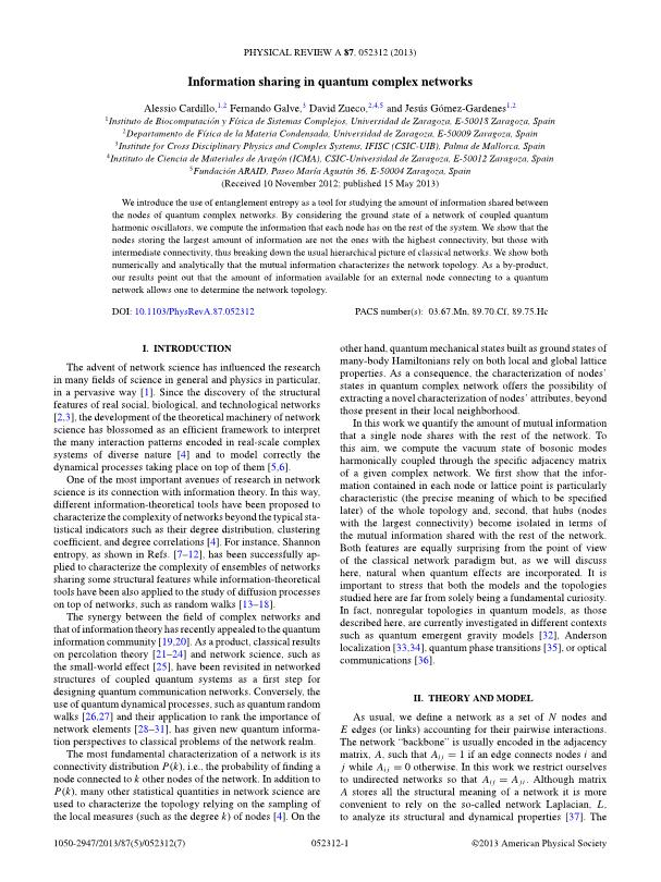 Information sharing in quantum complex networks