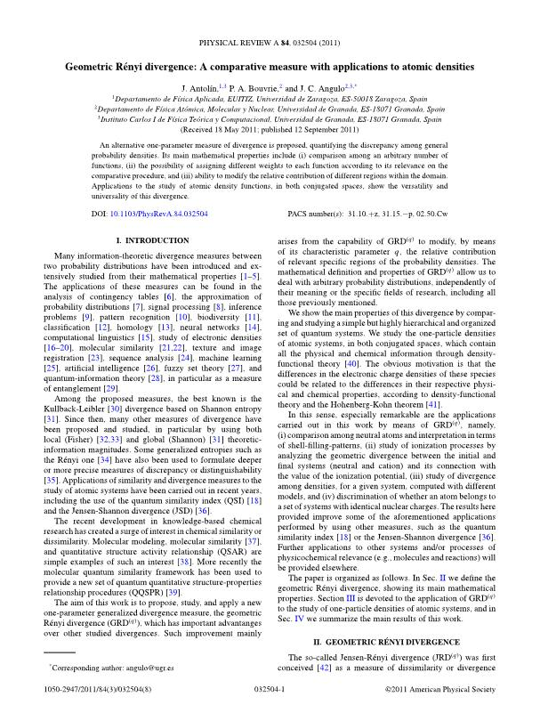 Geometric Rényi divergence: A comparative measure with applications to atomic densities