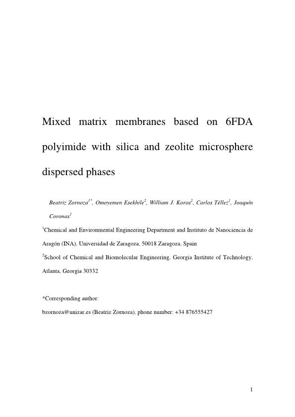 Mixed matrix membranes based on 6FDA polyimide with silica and zeolite microsphere dispersed phases