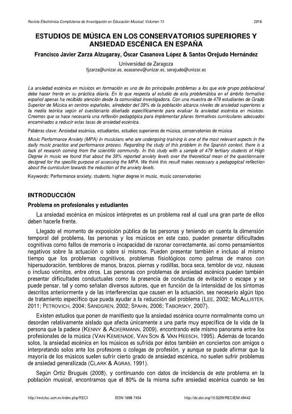 Estudios de música en los conservatorios superiores y ansiedad escénica en España
