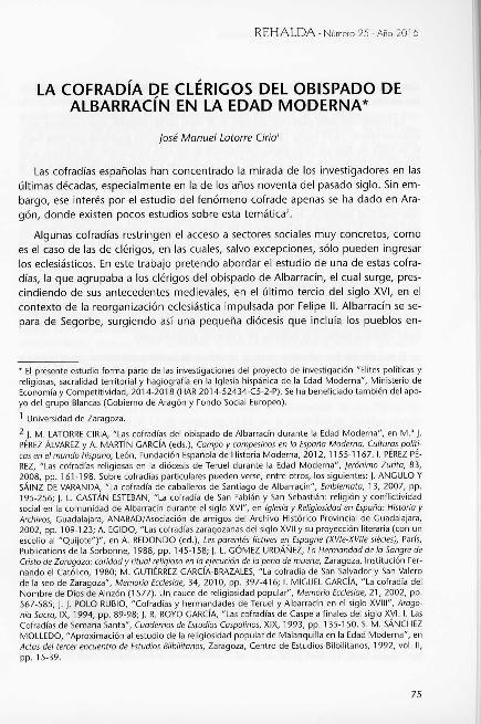 La cofradía de clérigos del obispado de Albarracín en la Edad Moderna