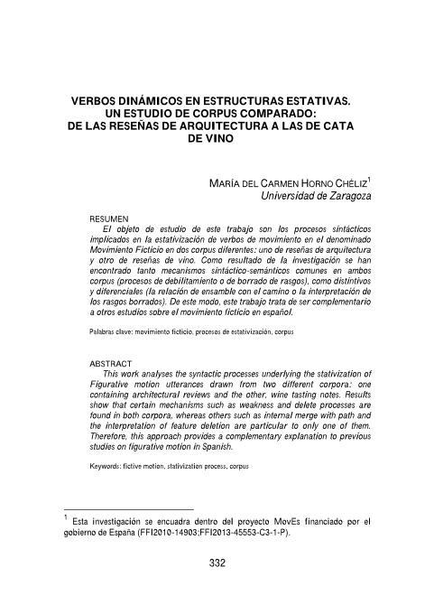 Verbos dinámicos en estructuras estativas. Un estudio de corpus comparado: de las reseñas de arquitectura a las de cata de vino