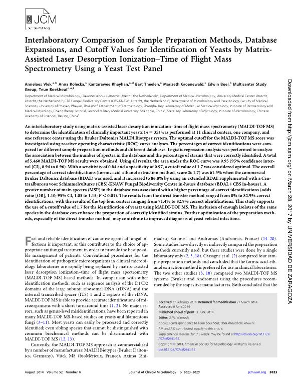 Interlaboratory comparison of sample preparation methods, database expansions, and cutoff values for identification of yeasts by matrix-assisted laser desorption ionization-time of flight mass spectrometry using a yeast test panel