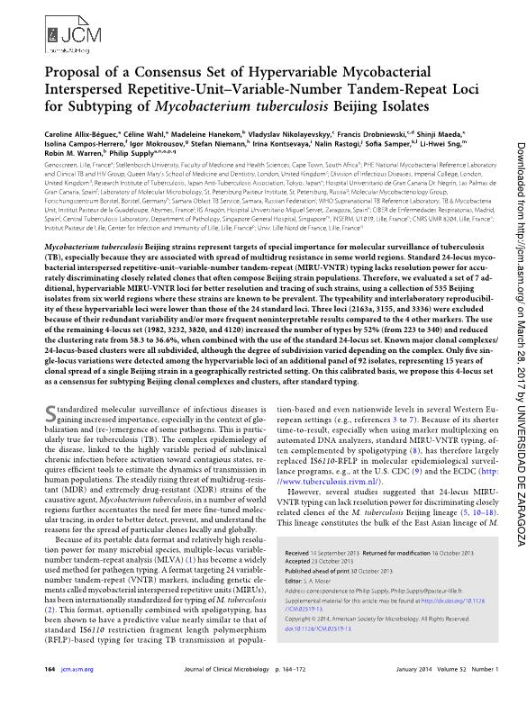 Proposal of a consensus set of hypervariable mycobacterial interspersed repetitive-unit-variable-number tandem-repeat loci for subtyping of mycobacterium tuberculosis Beijing isolates