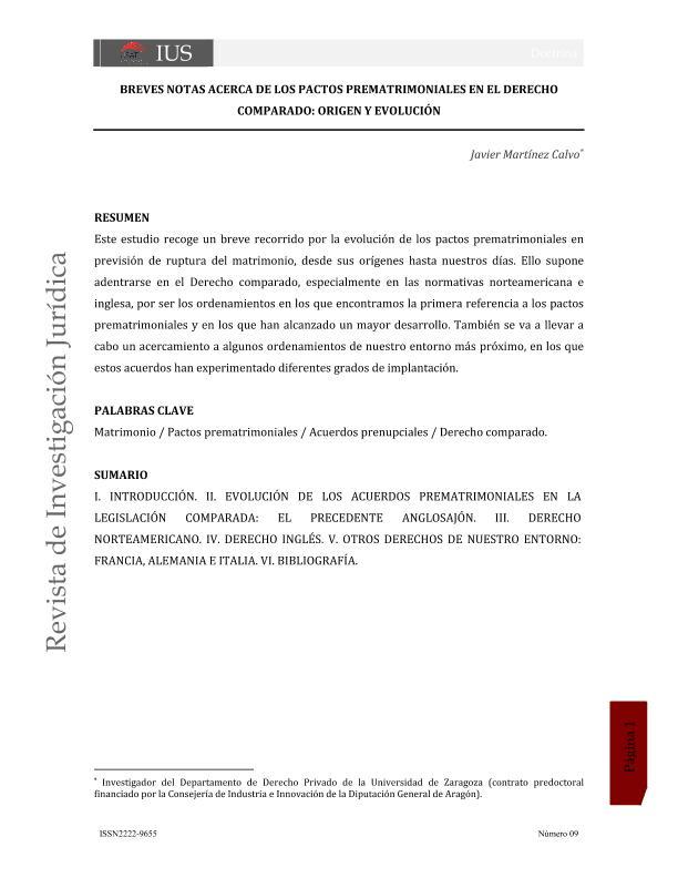 Breves notas acerca de los pactos prematrimoniales en el Derecho comparado: origen y evolución