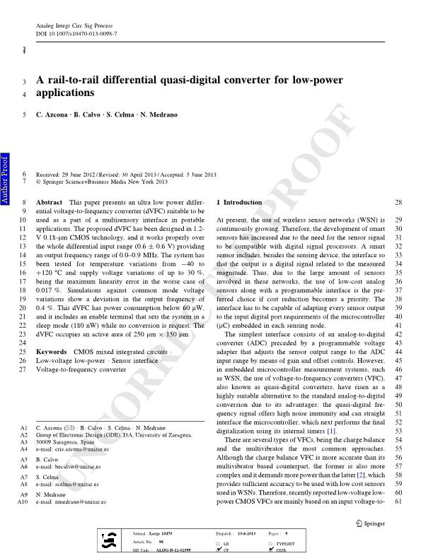 A rail-to-rail differential quasi-digital converter for low-power applications