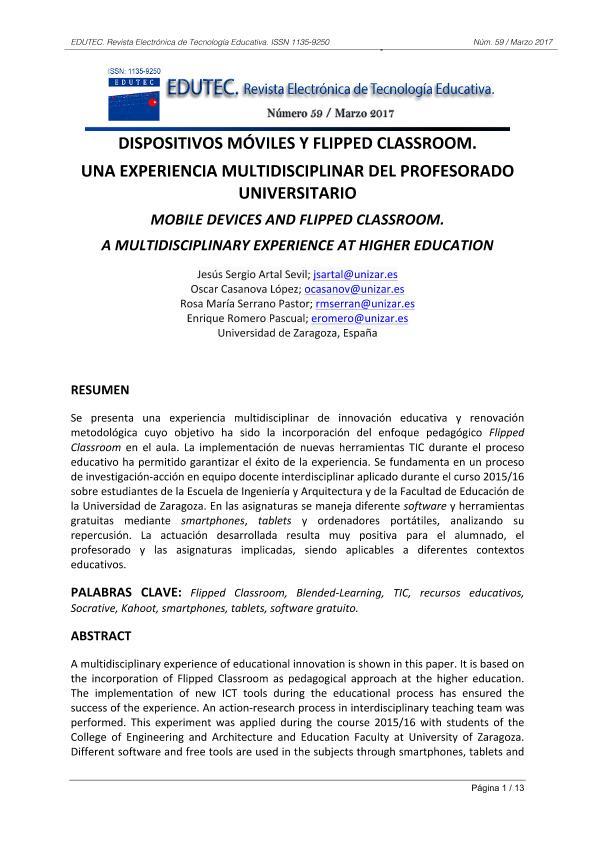 Dispositivos móviles y Flipped Classroom. Una experiencia multidisciplinar del profesorado universitario