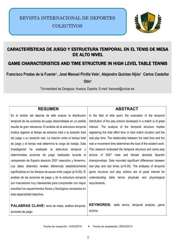 Características de juego y estructura temporal en el tenis de mesa de alto nivel
