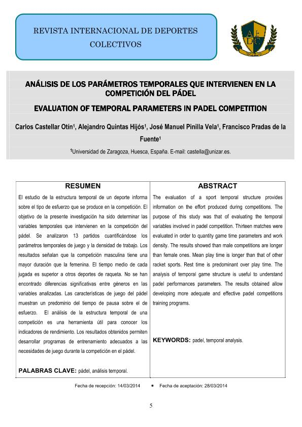 Análisis de los parámetros temporales que intervienen en la competición del pádel