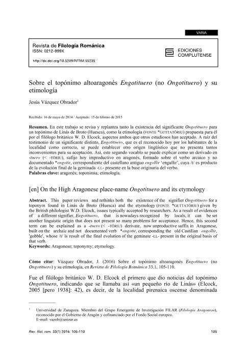 Sobre el topónimo altoaragonés Engotituero (no Ongotituero) y su etimología