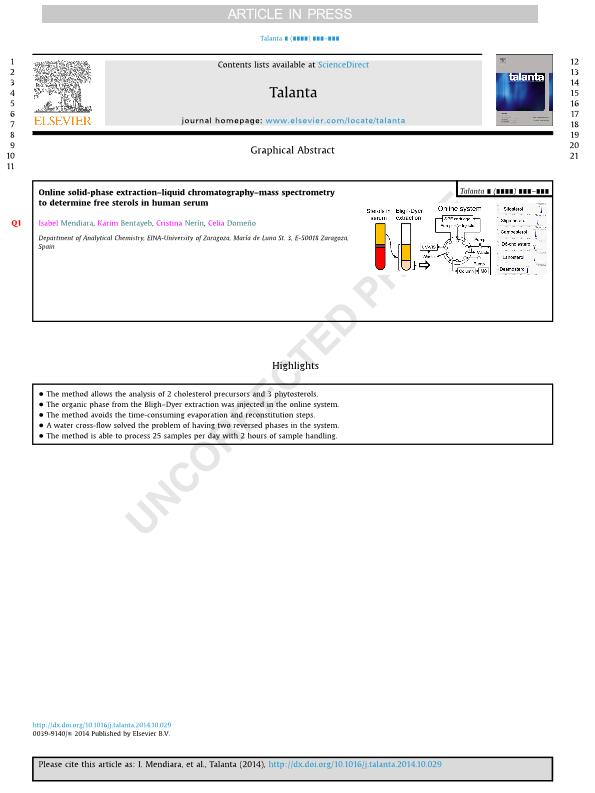 Online solid-phase extraction–liquid chromatography–mass spectrometry to determine free sterols in human serum