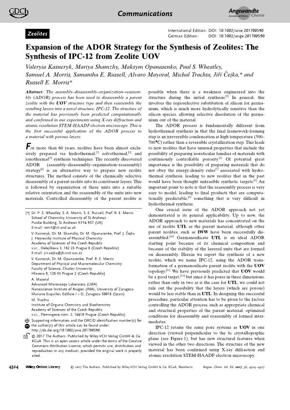 Expansion of the ADOR strategy for the synthesis of new zeolites: the synthesis of IPC-12 from zeolite UOV
