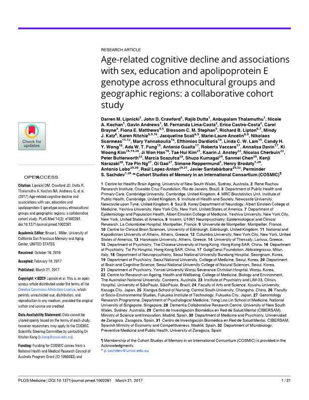 Age-related cognitive decline and associations with sex, education and apolipoprotein E genotype across ethnocultural groups and geographic regions: a collaborative cohort study