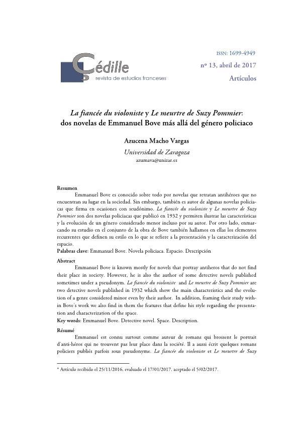 La fiancée du violoniste y Le meurtre de Suzy Pommier: dos novelas de Emmanuel Bove más allá del género policiaco